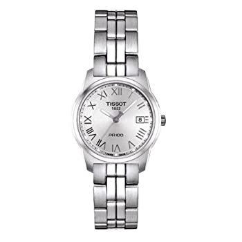 Tissot Women's T0492101103300 PR 100 Silver Roman Numeral Dial Watch from Tissot