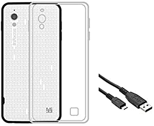 Tidel Silicon TPU Transparent Soft Back Cover For Infocus M370i With USB DATA CABLE