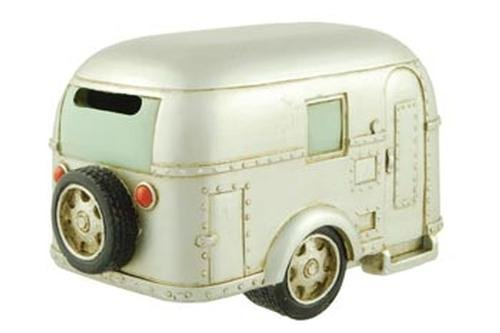 Coin Bank, Silver Vintage Travel Trailer Camper