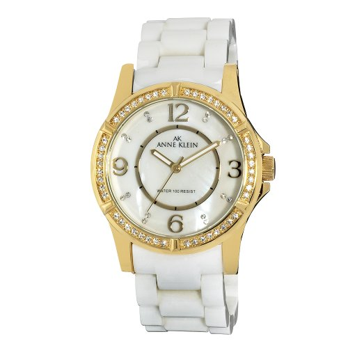 AK Anne Klein Women's 109588MPWT Swarovski Crystal Accented Gold-Tone White Ceramic Watch