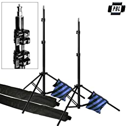 PBL LIGHTSTANDS PRO 10\' STUDIO VIDEO SET OF 2 WITH BLUE SANDBAGS SPRING CUSHION STANDS