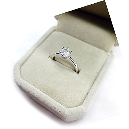 Maikun 18k White Gold Plated Classic 6 Prong Sparkling Solitaire Cubic Zircon Engagement Ring 8 new