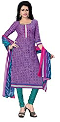 SDM Women's Crepe Printed Dress Material Unstitched (4446, purple, Free Size)