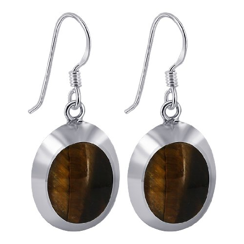 EMES051 Sterling Silver 14mm x 17mm Oval with Silver Border Tiger Eye French Ear Wire Dangle Earrings