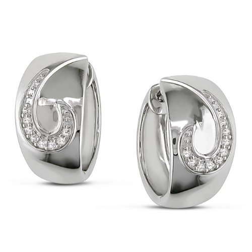 Sterling Silver, Diamond Hoop Earrings, (.1 cttw, GH Color, I2-I3 Clarity)