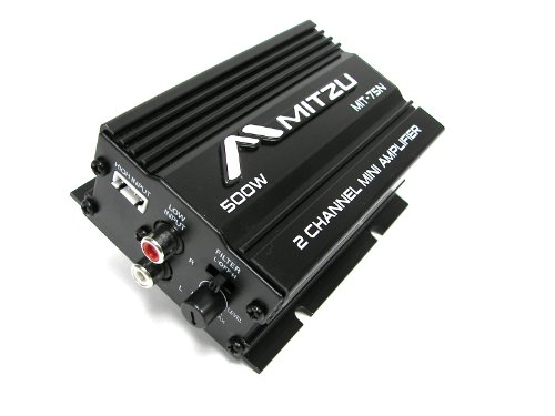 Mitzu Mit-75n 2 Channel 500 Watts Car and Motorcycle Audio Amplifier amp