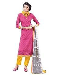 SR Women's Cotton Unstitched Dress Material (Pink Top Yellow Bottom Print Duptta )