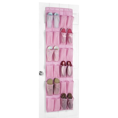 Whitmor Over-the-Door 24 Pocket Shoe Organizer Pink