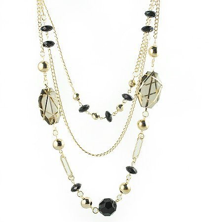 Smokey Topaz and Black Crystal Gold Tone 3 Tier Strand Necklace Women's Fashion Jewelry