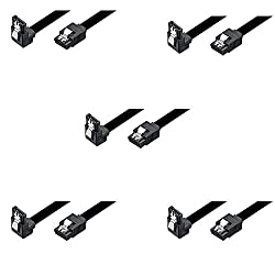 (5 Pack) SATA III (SATA 3) cable black (40cm) with Locking Latch straight to Right Angle 90 Degree | compatible up to S-ATA/600 | Serial ATA | 1,5GBs/3GBs/6GBs (backward compatible) | S-ATA Cable l Compatible with Sata I and Sata II