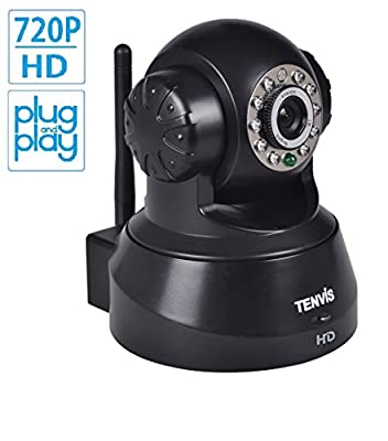 TENVIS JPT3815W-HD Wireless IP/Network Security Camera, Remote Live View, Capture Picture and Video Clip, Pan & Tilt, Plug&Play, with Two-Way Audio and Night Vision, Motion Detection with Alert (Black)
