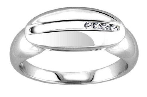 Modern Quality Anti-Tarnish 925 Sterling Silver Ladies Fancy Diamond Ring Brilliant Cut 0.04 Carat G-VS