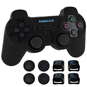 Assecure Pro comfort & grip pack for Sony PS3 Controller - Includes premium soft silicone cover, real triggers & thumbstick grip caps [Playstation 3]
