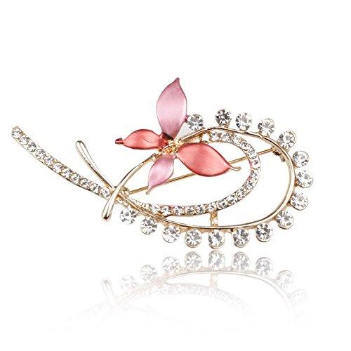 Crystal Rhinestone Flower Enamel GP Wedding pin Breastpin Brooch S639K06