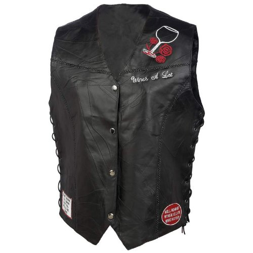 Ladies Leather Vest W/patches - Style GFVWAL2X