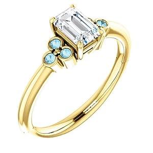 14K Yellow Gold Emerald Cut Diamond and Aquamarine Engagement Ring