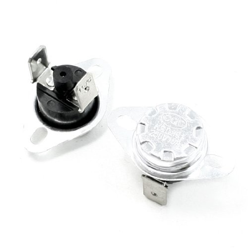 Water & Wood 2 Pcs 110C Celsius Nc. 2 Pin Bent Foot Design Manual Reset Thermostat 10A Ac250V front-627576