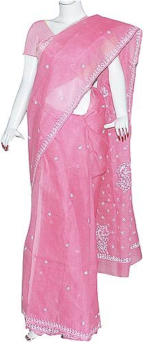Womens Dresses Indian Saree Cotton Chikan Embroidery Blouse & Petticoat Pink (chsari103)