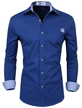 Tom's Ware Chemise a manches longues homme - en couleurs differentes TWNMS311S-NAVY-XS/S