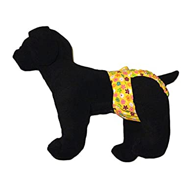 Barkerwear Dog Diaper - Spring Yellow Blossom Washable Cover-up / Diaper for Incontinence, Housetraining and Dogs in Heat