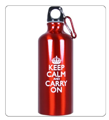 Keep Calm and Carry On Aluminum Sports Water Bottle for Drinking - Red