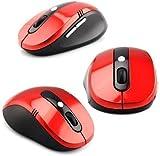 Buytra - Ratón óptico inalámbrico (USB, 2,4 GHz), color rojo