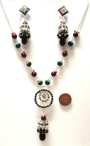 Faux Garnet & Emerald Beads Awesome Silver Look 3 Pcs Necklaceearringset Rsnza