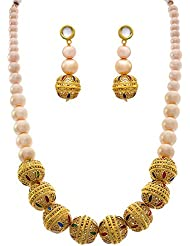 JFL - Grandiose Gold Bead One Gram Gold Plated Necklace Set With Pearl String And Meenakari With Earring For Women...