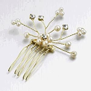 GOLD CRYSTAL PEARL SPRAY HAIR COMB