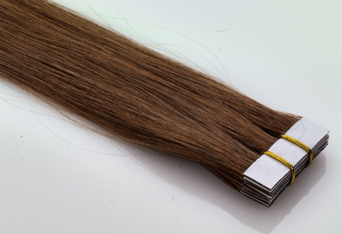 Echthaar tape in on extensions haarverl ngerung 40cm for Farbpalette braun