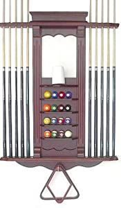 Cue Rack Only- 10 Pool - Billiard Stick & Ball Set Wall Rack Mahohany Finish Made of Wood