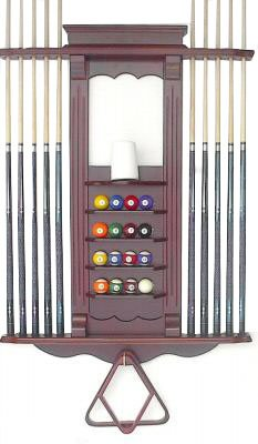 Cheapest Prices! Cue Rack Only- 10 Pool - Billiard Stick & Ball Set Wall Rack Mahohany Finish Ma...