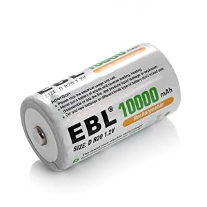 EBL C D Rechargable Batteries