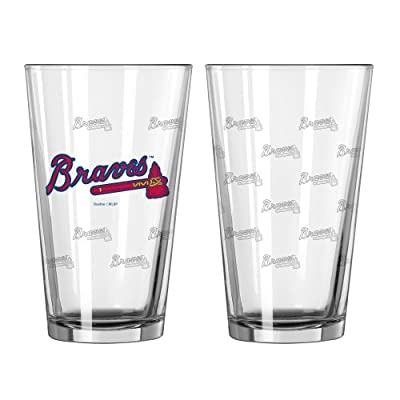 MLB Atlanta Braves Satin Etch Pint Glass Set (Pack of 2), 16-Ounce