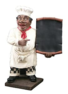 large figurine black chef decor statue wine accessories kitchen dining. Black Bedroom Furniture Sets. Home Design Ideas