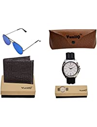 Combo Pack Of Black Denim Shade Wallet With YuniiQ Blue Reflector With YuniiQ Black Formal Watch