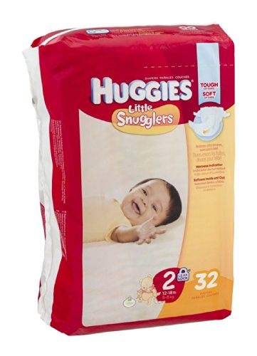Huggies Diapers Little Snugglers Disney Size 2 (12 - 18 lb) 32 CT (Pack of 4)