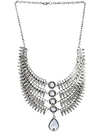 Aradhya Alloy Tribal Design Oxidized Silver Necklace In Antique Finish For Girls And Women