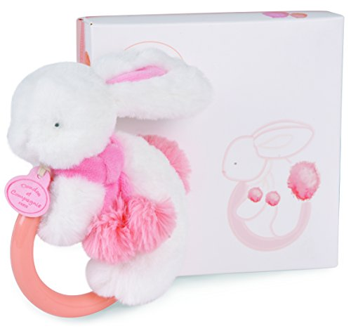 DOUDOU ET COMPAGNIE - White & Coral Pompon Soft Bunny With Rattle - 1