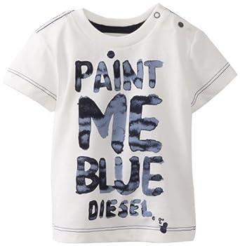 Diesel Baby-Boys Infant Tasidyb Paint Me Blue Short Sleeve Tee, White, 3 Months