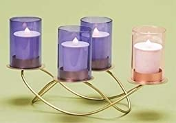 10''W Advent Wreath With Glass Holders Candles Not Included by Roman by Roman, Inc.