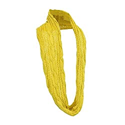 Classic Cowl Neck Infinity Loop Scarf, Soft Winter Pashmina, Cable Knit - Yellow