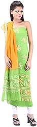 Shreya Bandhej Women's Cotton UnStitched Dress Material (SB13-PrO, ParrotGreen & Orange )