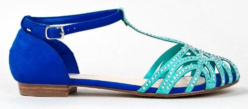 Breckelle's BLING-21 Studded Rhinestone T-Strap Flat Sandal