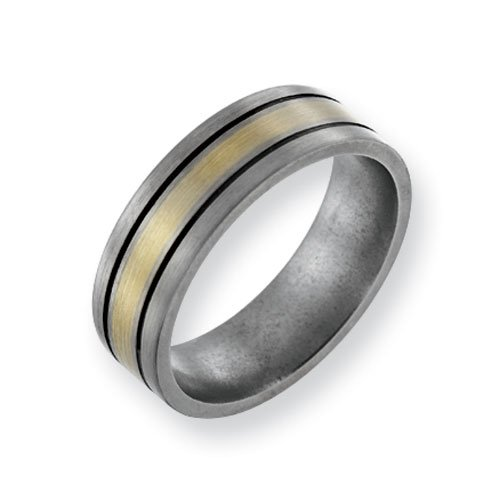 Titanium 14k Gold Inlay Flat 7mm Brushed and Antiqued Comfort Fit Wedding Band Ring (SIZE 9.5 )
