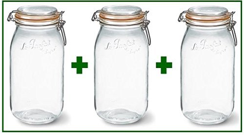 Set of 3 - Le Parfait French Super Canning Jars With Bail Lid - 101 oz / 3 liters