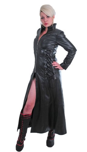 Corseted Gothic Leather Coat - L - Size 14