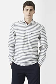 Long Sleeve Stripe Pop Over Woven Shirt