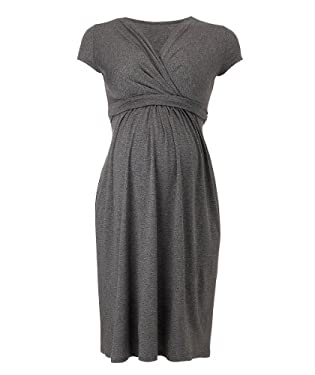 Maternity Grey Marl V-Neck Empire Jersey Dress