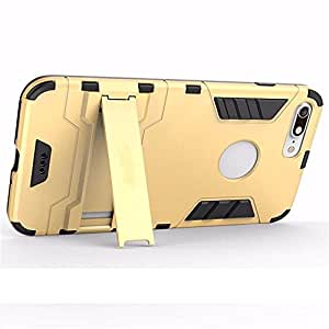 New designed tough hybrid back cover case with kick stand(dual layer) for Apple iphon 7 Gold